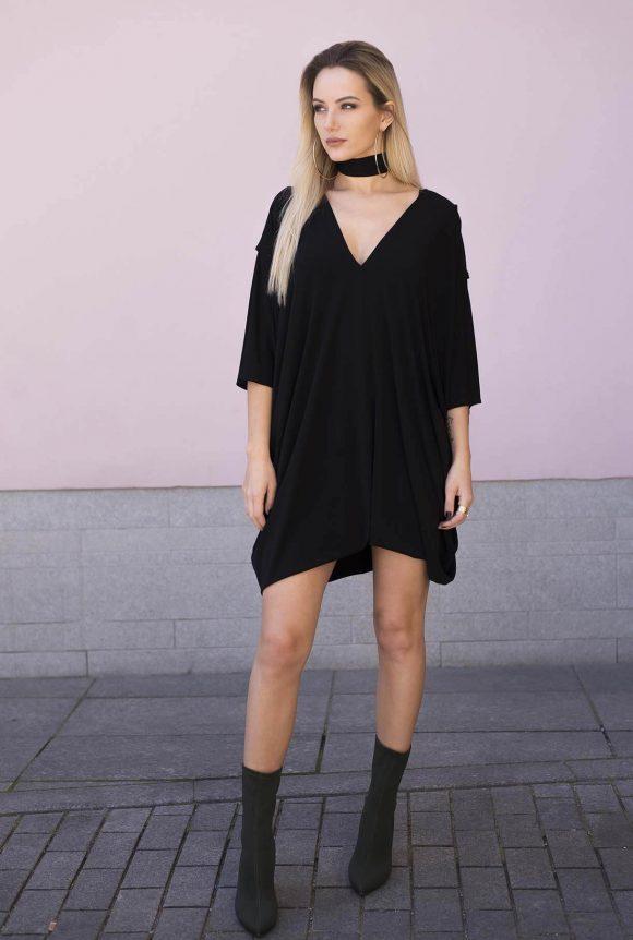 Black Oversized Dress, convertible dress