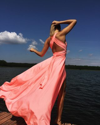 peach color dress,peachy dress, multi dress, infinity dress, convertible dress, homecoming dress, cocktail dress