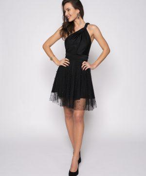 black dress, tulle dress, pearl beads, pearl dress, multidress, infinitydress, convertible dress, homecoming dress
