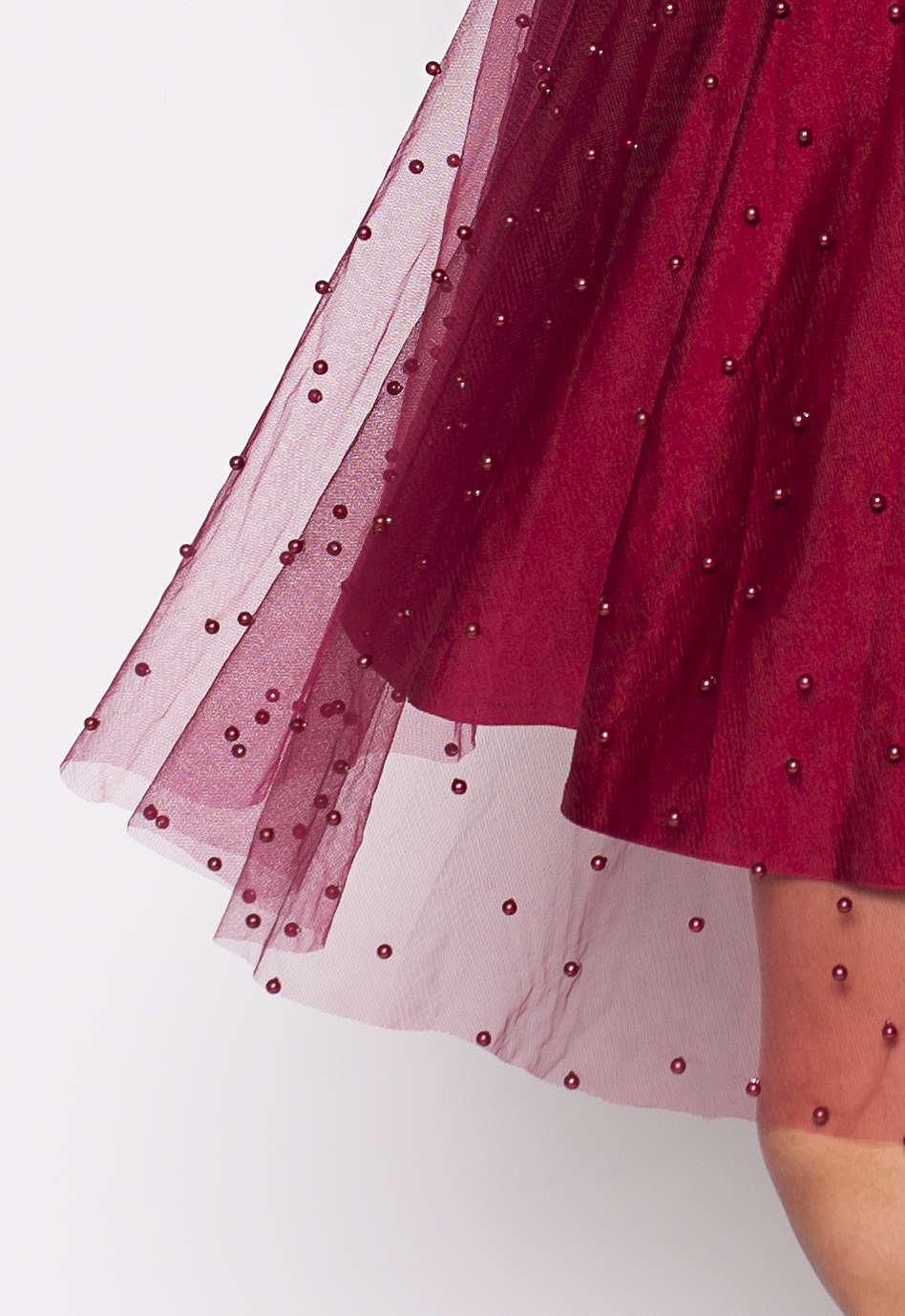 e77a20166f7 Bordeaux tulle skirt with pearl beads