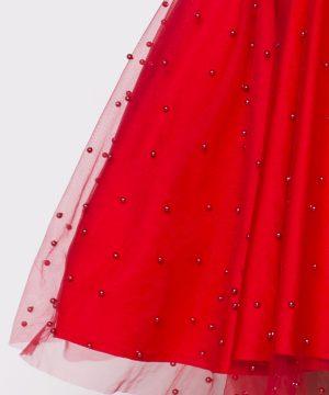 red dress, tulle dress, pearl beads, pearl dress, multidress, infinitydress, convertible dress, homecoming dress