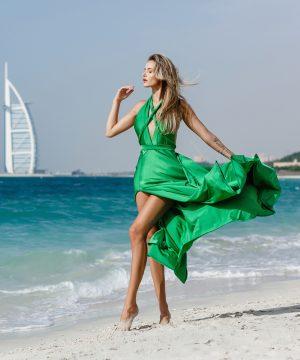 green dress, mini dress, multi dress, infinity dress, convertible dress, homecoming dress, cocktail dress, dubai, uae