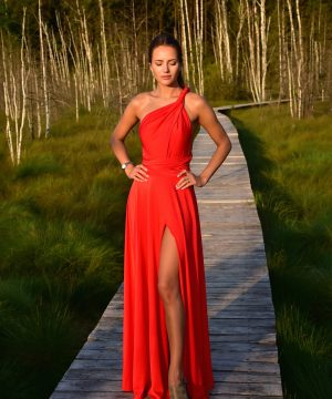 red dress, long dress, multi dress, infinity dress, convertible dress, homecoming dress, cocktail dress