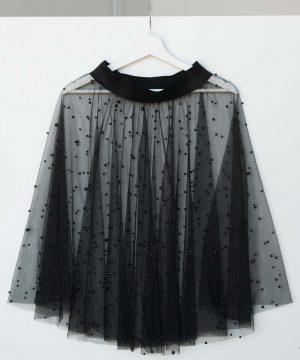 Black Tulle Skirt, Tulle Skirt With Pearl Beads