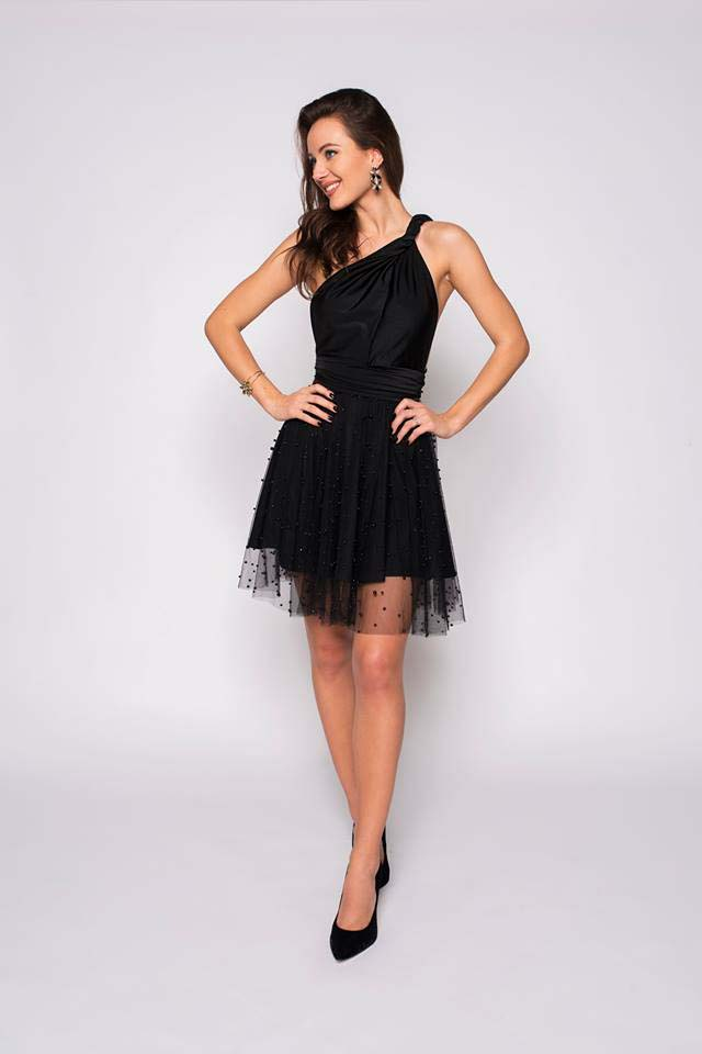 ec1fc12c7a6 Black tulle skirt with pearl beads