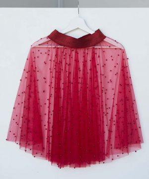 Tulle Skirt, Pearl Beads, Red Skirt