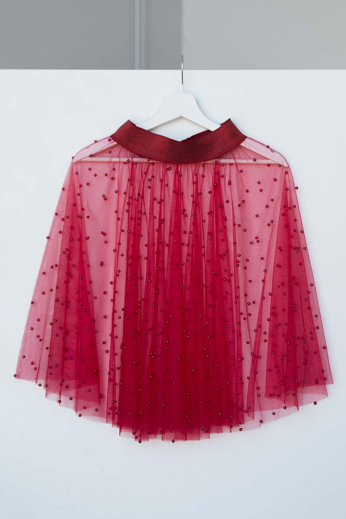 7e67120d758 Red tulle skirt with pearl beads