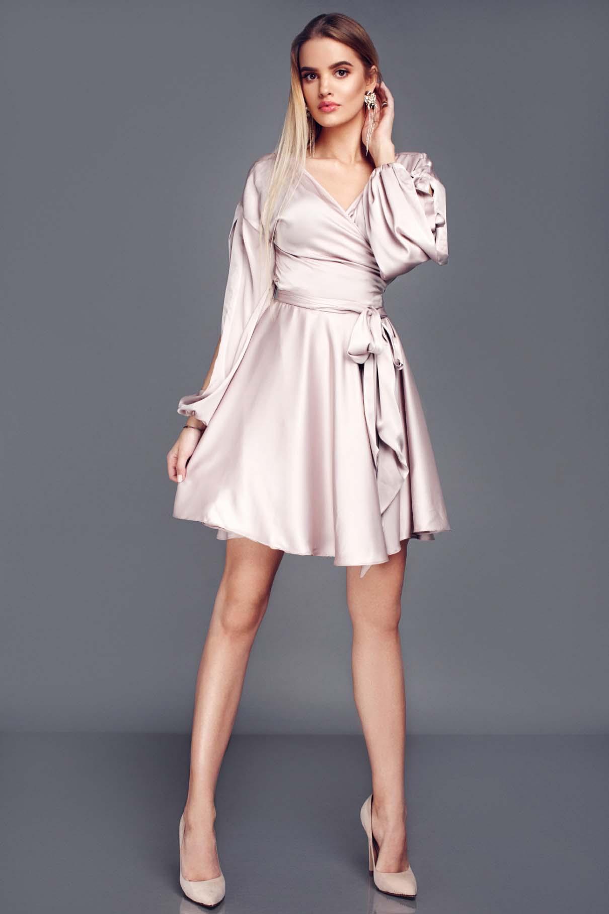Cappuccino Mini Wrap Over Dress Lille