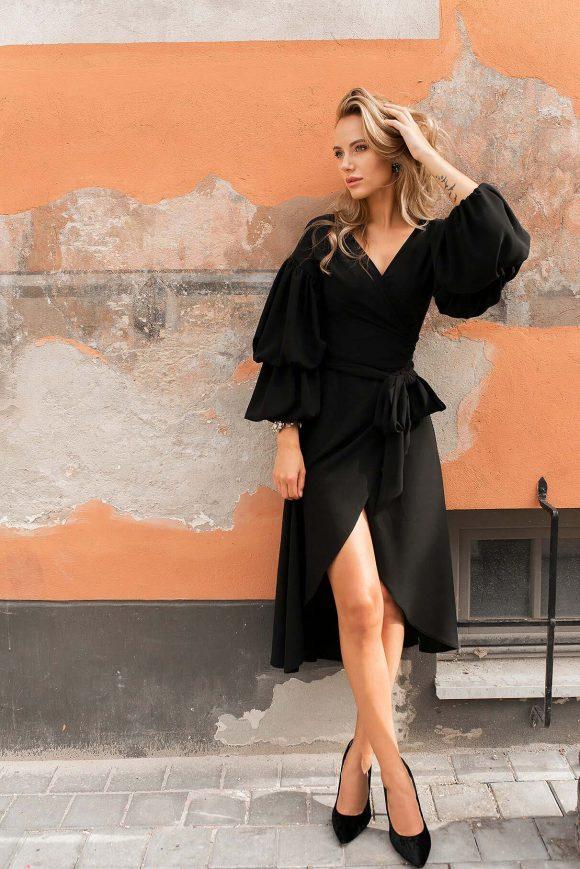 Black Wrap Over Dress