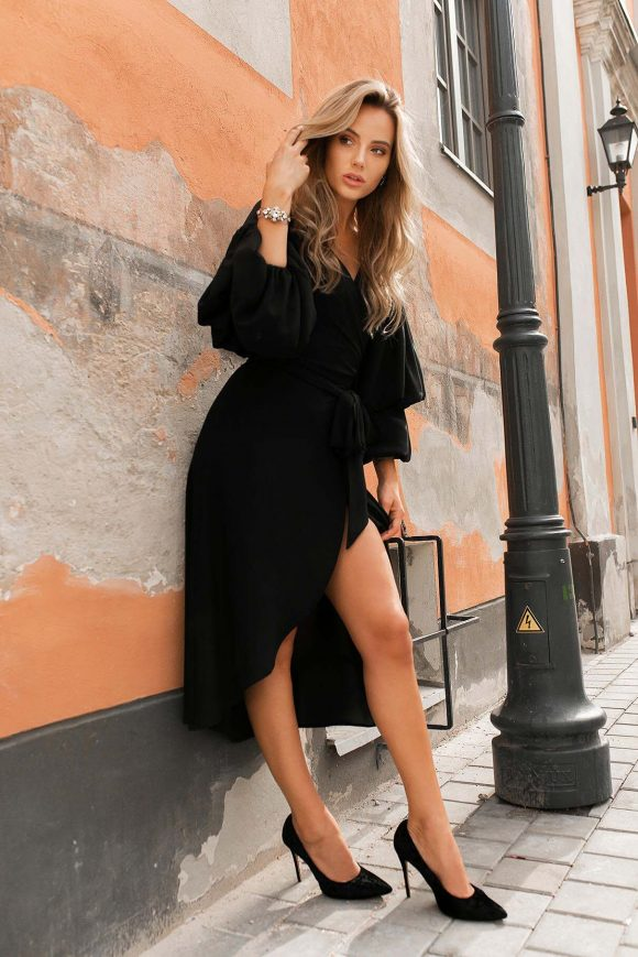 Black Wrap Over Dress.....
