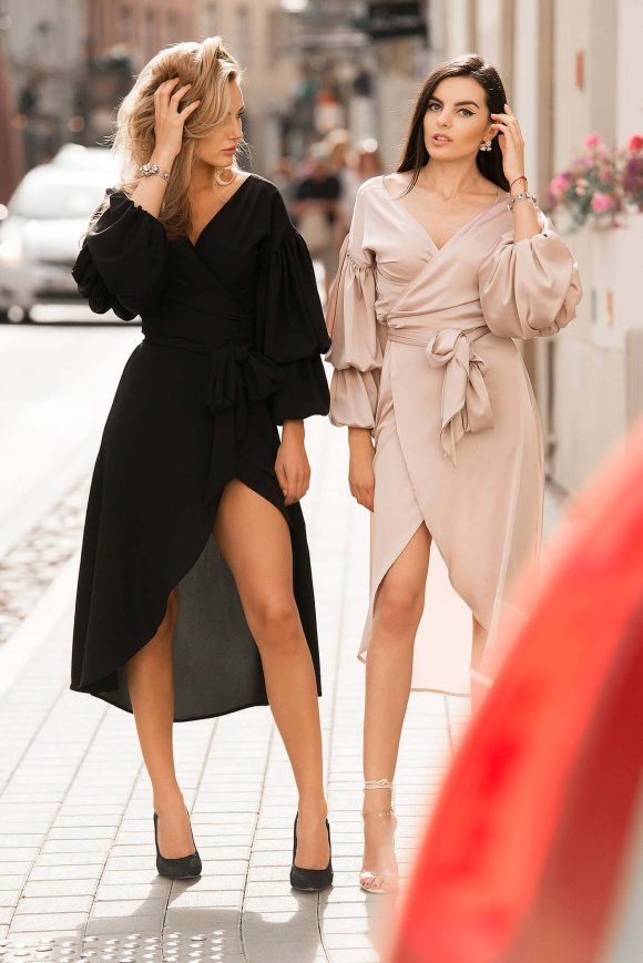 Cappucino Color Wrap-Over Dress