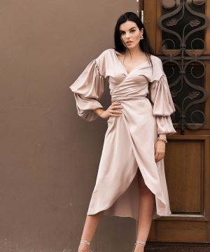 Cappucino Color Wrap Over Dress..