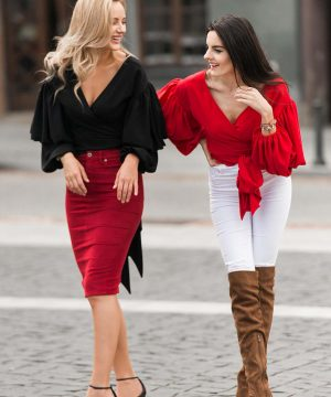 Red Convertible Blouse