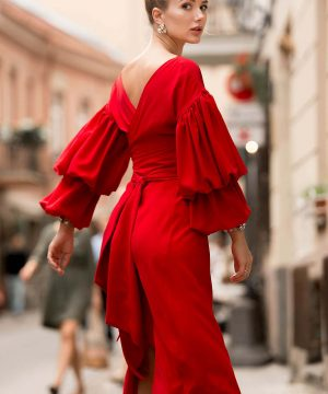 Red Dress, Wrap Over Dress