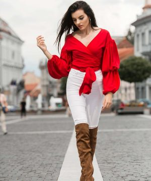 Red Wrap Over Blouse