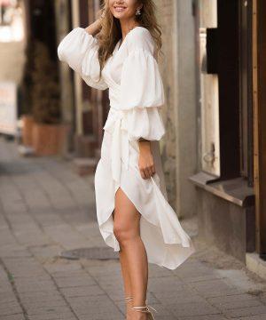 White Wrap Over Dress, V Neck Dress