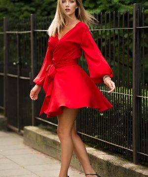 Red Wrap Over Dress, Mini Dress