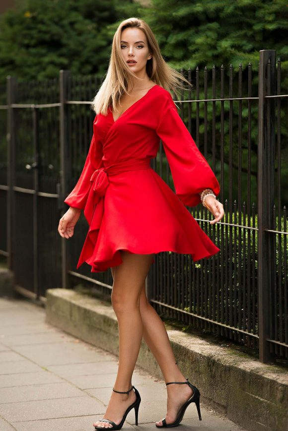 Red Wrap Over Dress, Mini Dress