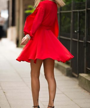 Red Wrap Over Dress, Boat Neck Dress