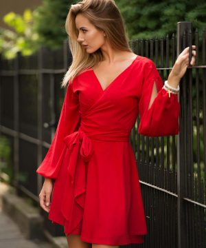 Red Wrap Over Dress, Short Dress
