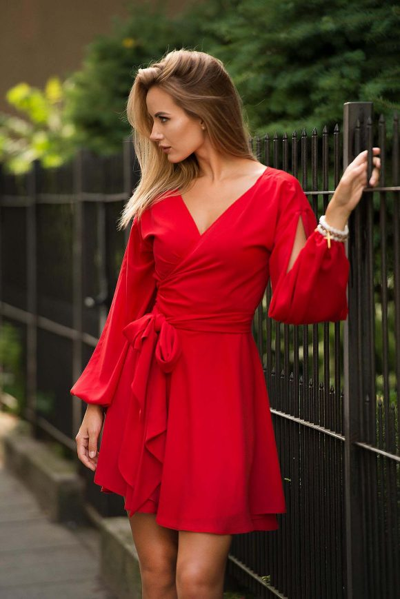 Red Wrap Over Dress, Short Dress
