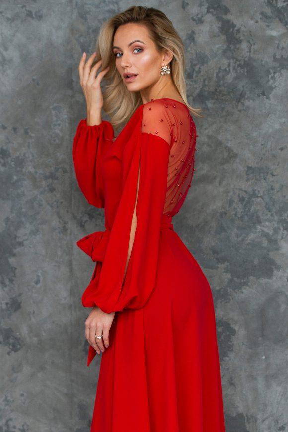 see-through back dress, beaded back dress, wrap-over dress
