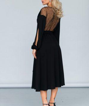 Wrap-over dress, beaded back dress, midi length dress