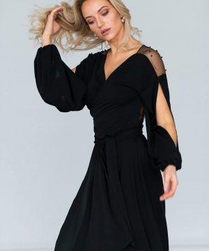 Wrap-over dress, midi length dress