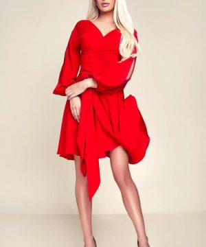 red dress, wrap-over dress