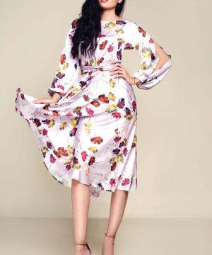 Wrap-over dress, midi length dress