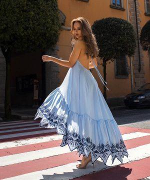 Blue Open Back Infinity Prom Dress