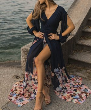 Navy Wrap Over Maxi Wedding Guest Dress For Women