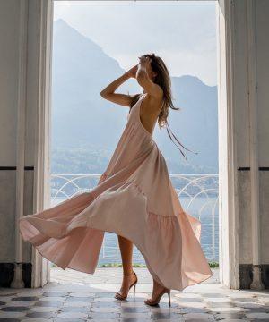 Pink Open Back Multi Wedding Guest Dress