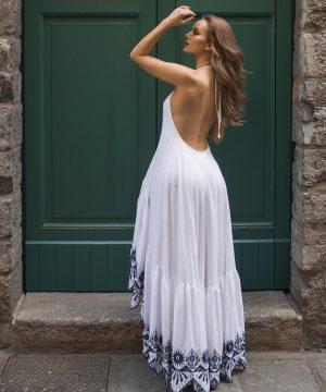 Ruffled Bottom White Prom Dress For Women