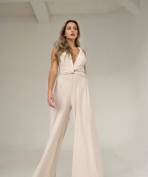Cream Multifuntional Jumpsuit For Women Top To Bottom