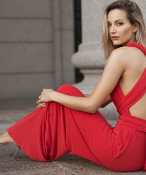 Red Convertible Jumpsuit Top To Bottom