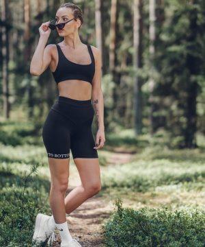 Biker Shorts Set For Women Black Top To Bottom