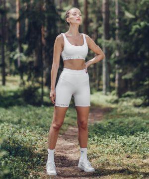 Biker Shorts Set For Women White Top To Bottom