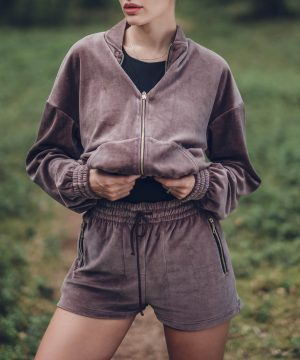 High Waisted Shorts Velour Taupe Top To Bottom