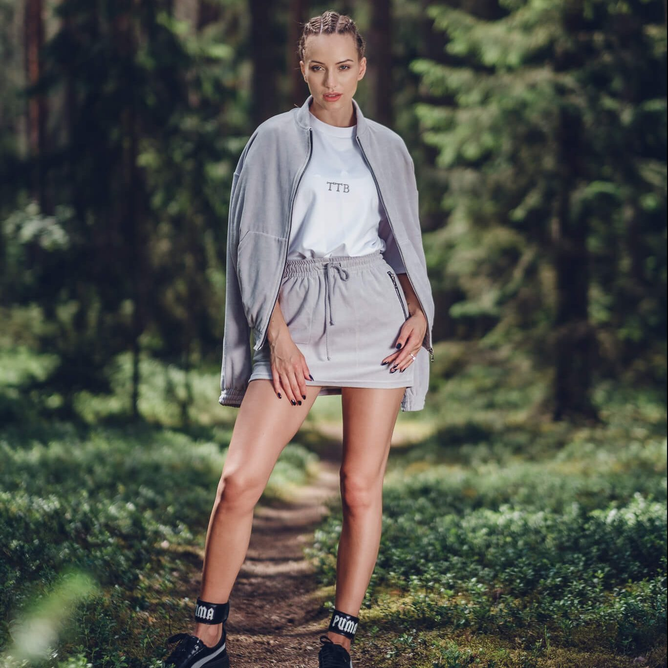 Mini skirts from90 Grey High Waisted Velour Skirt Top To Bottom Fashion