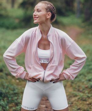 Velour Sweatshirt Baby Pink Top To Bottom