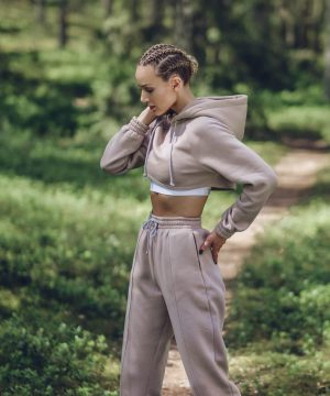 Women Crop Top Hoodies Nude Top To Bottom