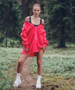 Womens Sweatshirt Dress Red Top To Bottom