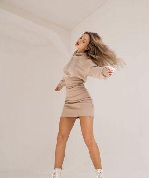Jumper Dress Pencil Skirt Dress Nude