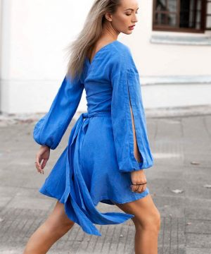 Blue Wrap Over Linen Dress For Women