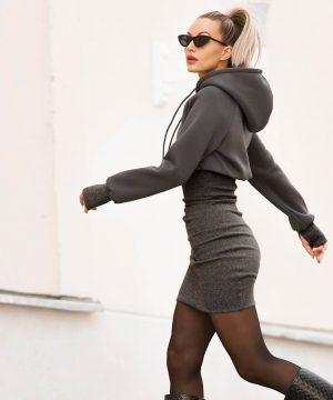 Casual Gray Pencil Skirt Dress