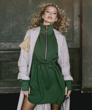 Casual Green Hoodie Dress For Women Top To Bottom