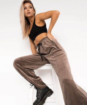 Velvet High Waisted Joggers Brown Top To Bottom