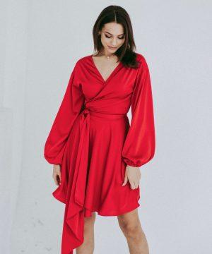Red Mini Wrap Over Dress For Women Ttbfashion