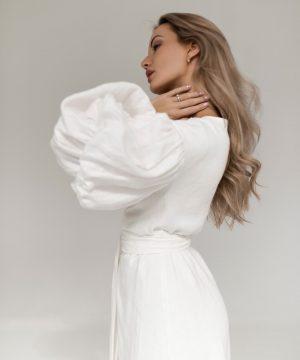White Linen Wedding Dress Ttbfashion